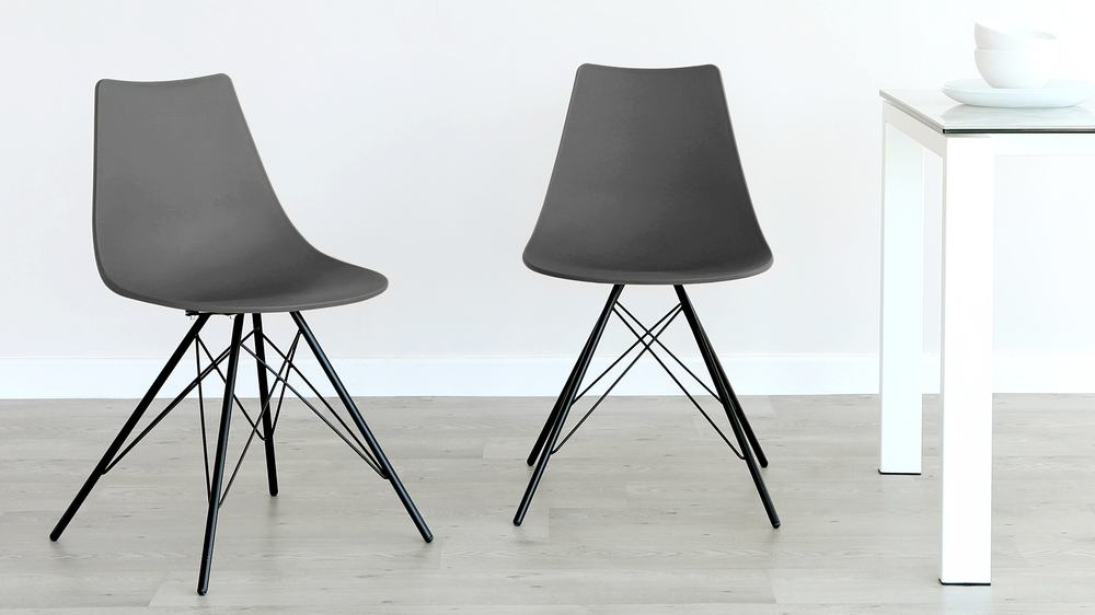 Slate Grey with Black Wired Legs Dining Chair