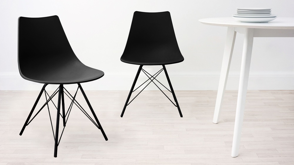 Black with Black Wired Legs Dining Chair