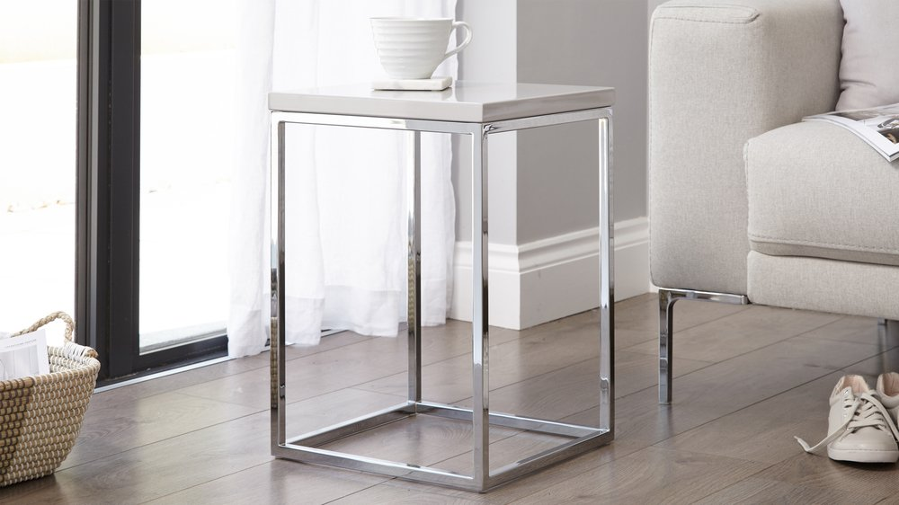 Grey gloss and chrome small side table