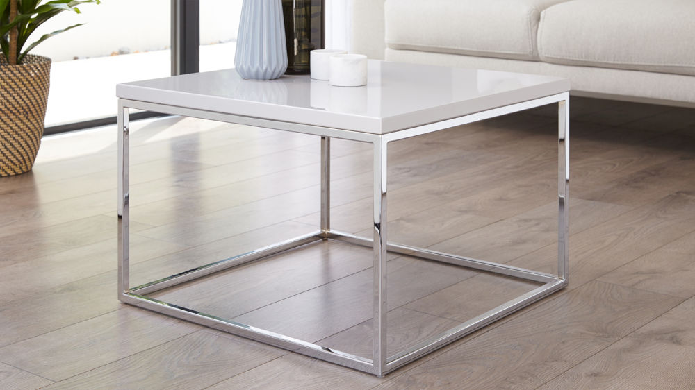 Grey gloss and chrome coffee table