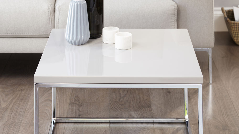 Acute Grey Gloss And Square Chrome Coffee Table Danetti