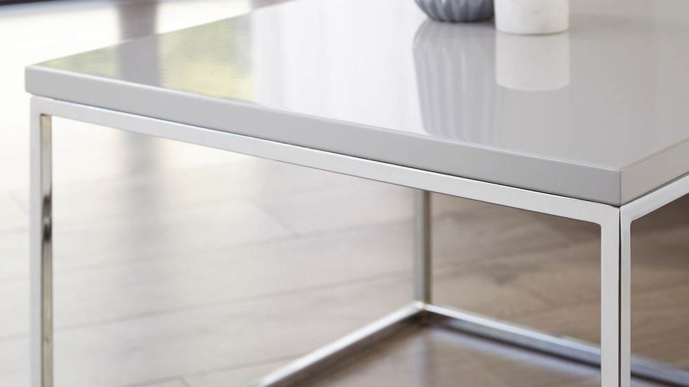 Chrome and gloss square coffee table