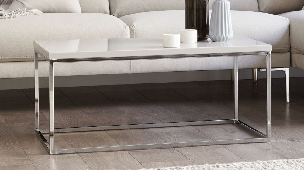 Large modern grey gloss coffee table