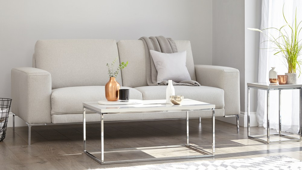 White gloss large coffee table
