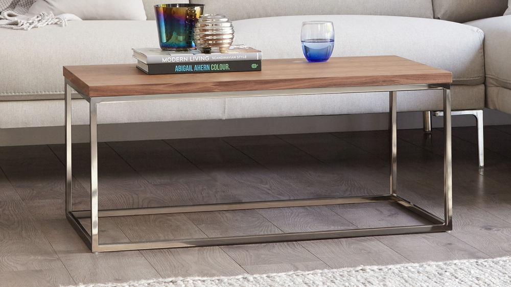 Modern Walnut And Black Chrome Coffee Table Uk