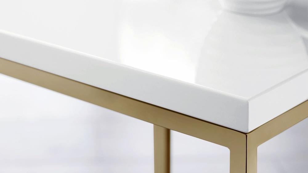 Acute white and brass table