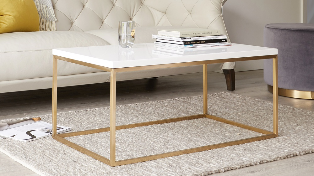 Acute Large White Gloss and Brass Coffee Table