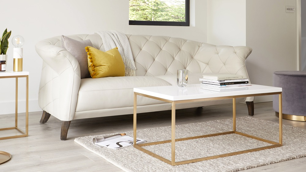 Acute White Gloss Coffee Table with Brass Base