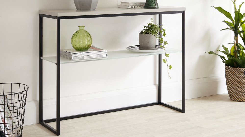 Acute Matt Grey And Black Console Table Danetti