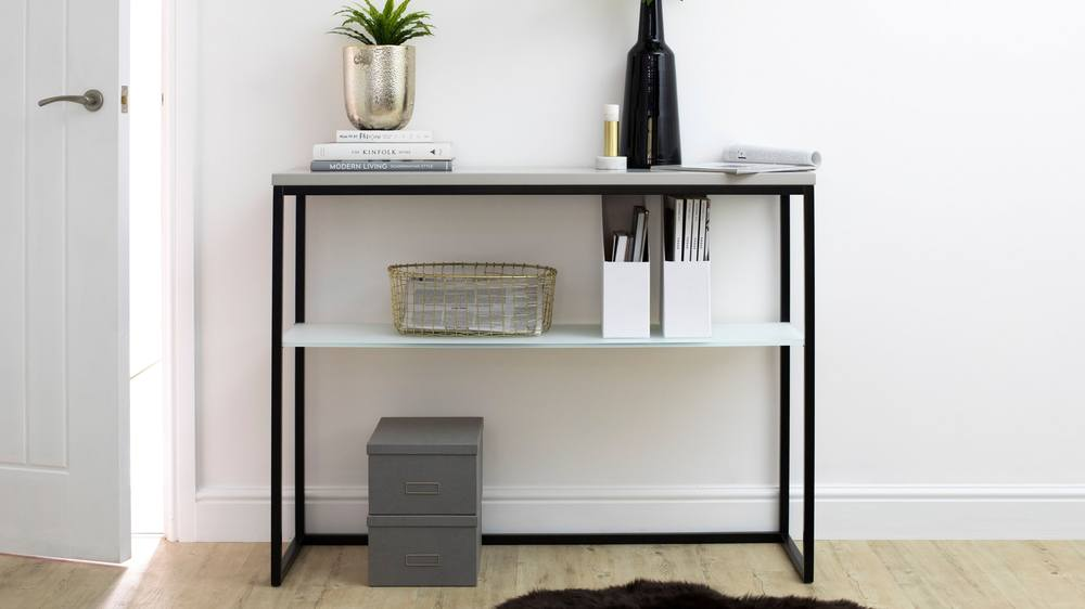 black and matt grey console table