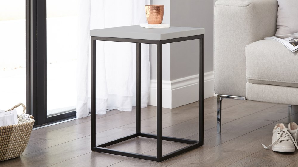 Modern Grey And Metal Side Table Living Room Table Uk