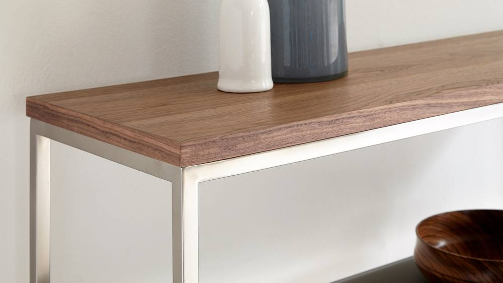 Acute Walnut and Black Chrome Console Table