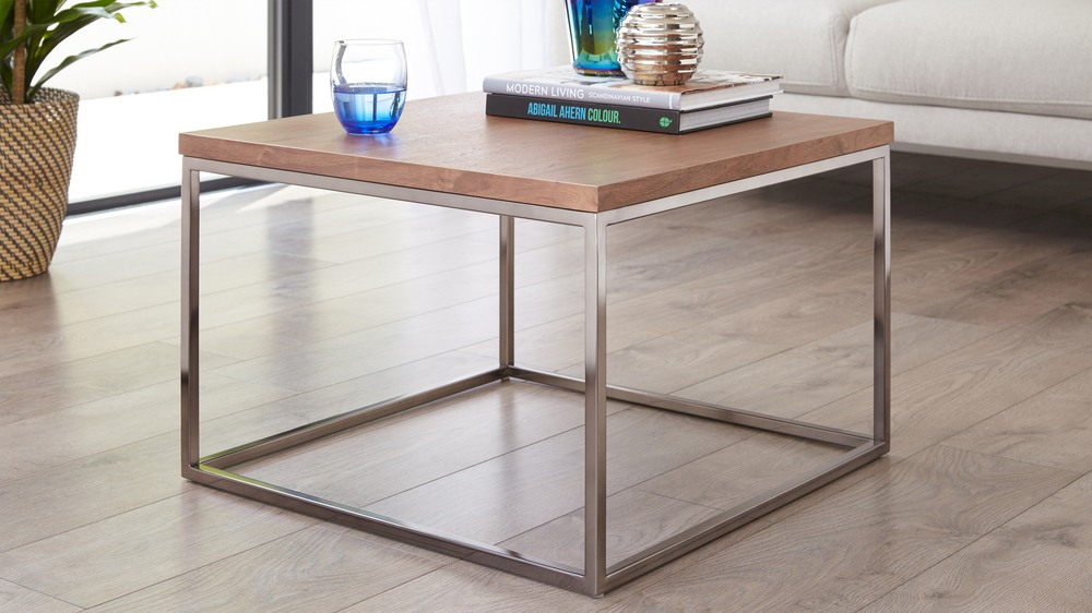 Walnut and black chrome coffee table