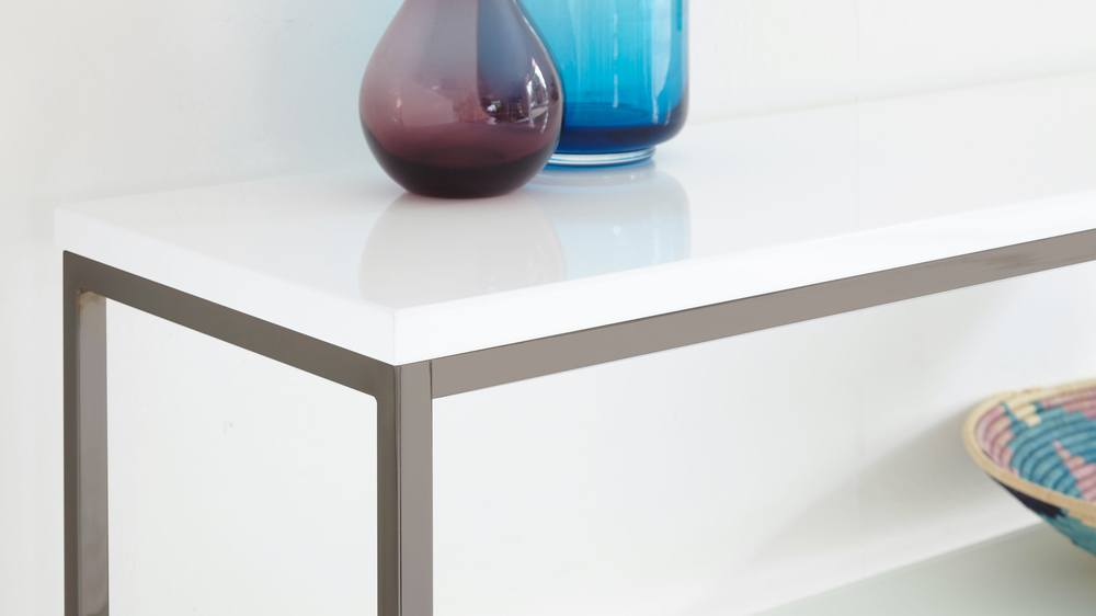Buy black chrome and white gloss and glass console table