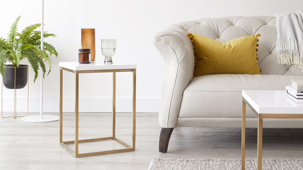 Acute White Gloss and Brass Side Table