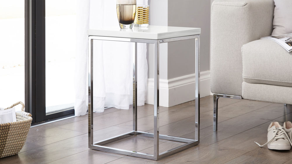 White Gloss and Chrome side table