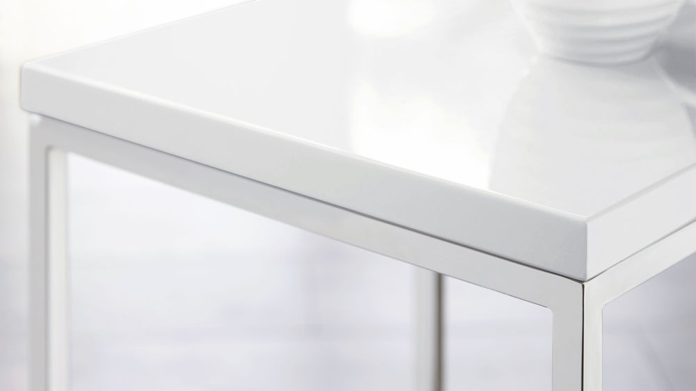 Acute White Gloss And Chrome Side Table Danetti