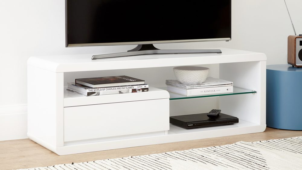 Modern white gloss TV unit