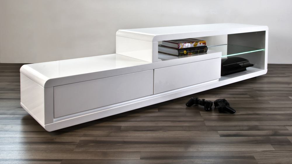 Modern White High Gloss Tv Table 2 Drawers Clear Glass