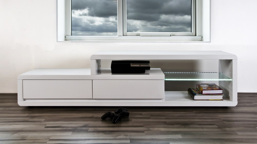 modern white high gloss tv table 2 drawers clear glass. Black Bedroom Furniture Sets. Home Design Ideas