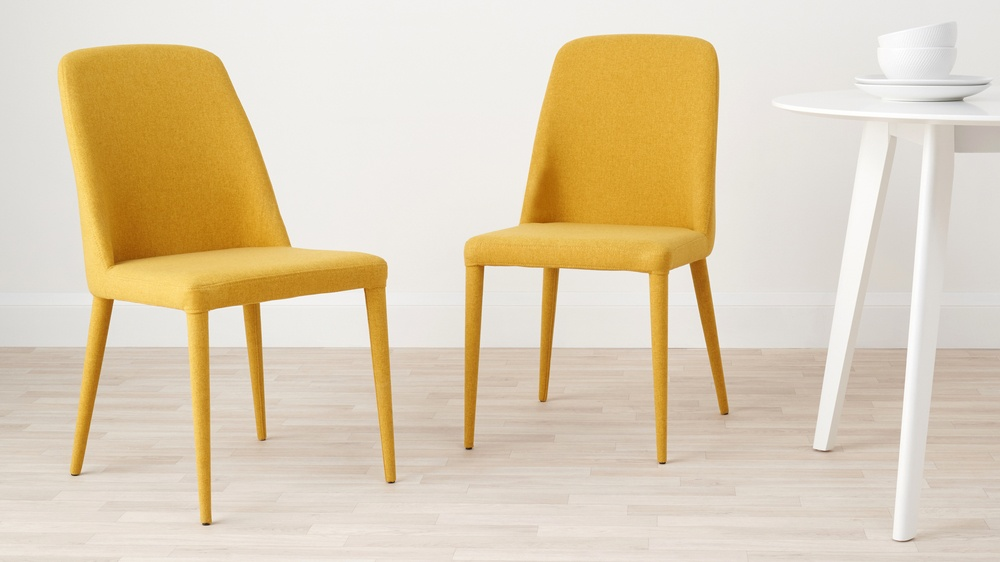 Colourful fabric dining chairs