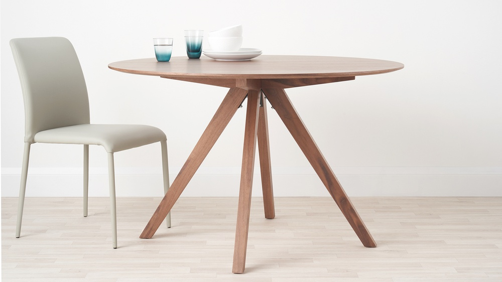 Walnut wooden round kitchen tables
