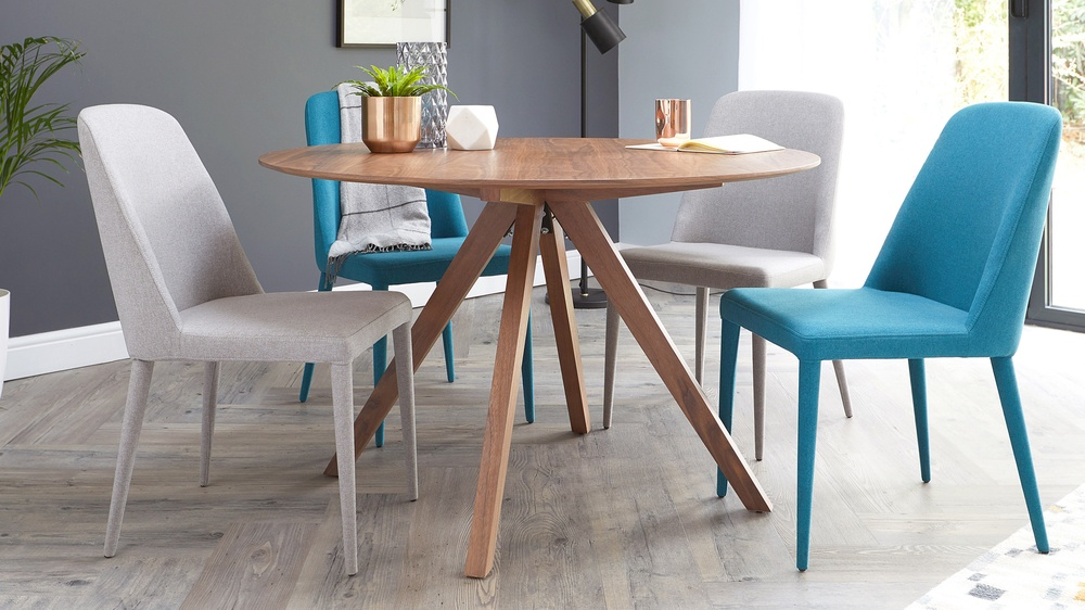 Walnut round dining table set