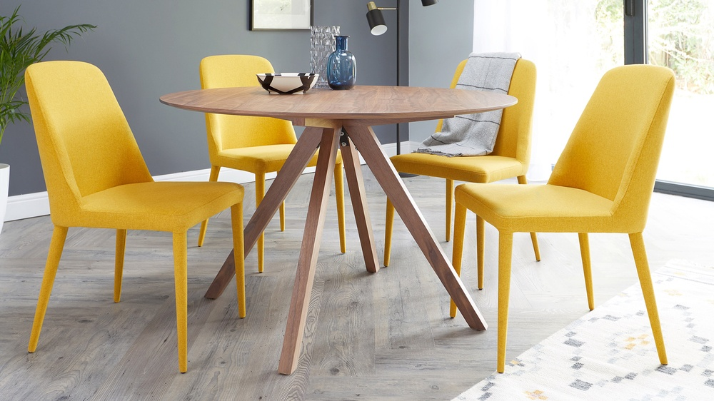 Yellow chair and wooden table dining set