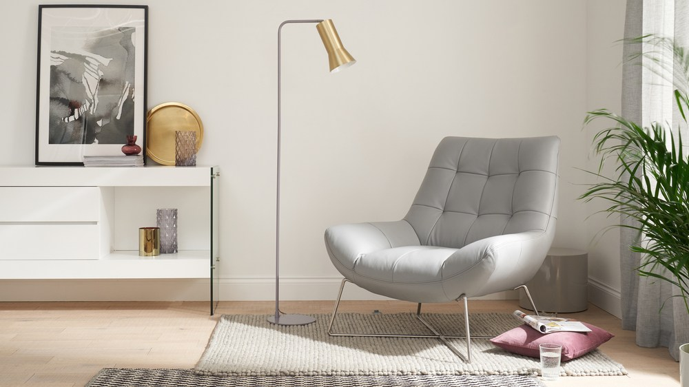 Brass and grey floor lamp