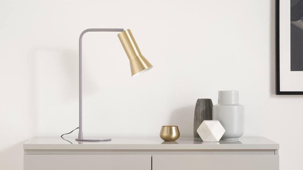 Buy grey and brass table lamp