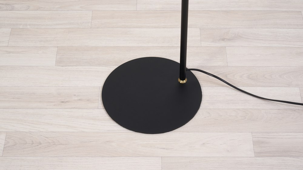 Black round base floor lamp