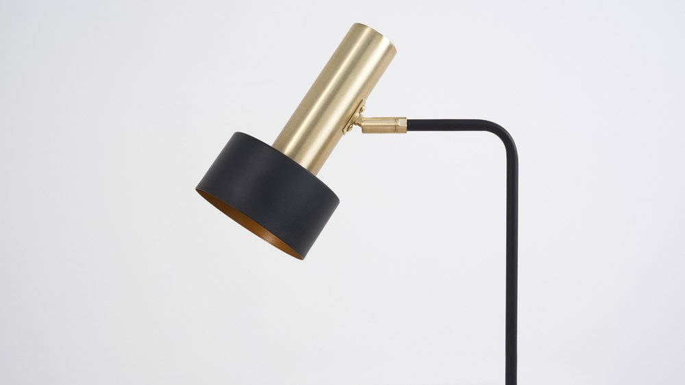 Black and brass contemporary floorlamp