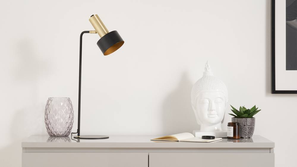 Black and brass table lamps