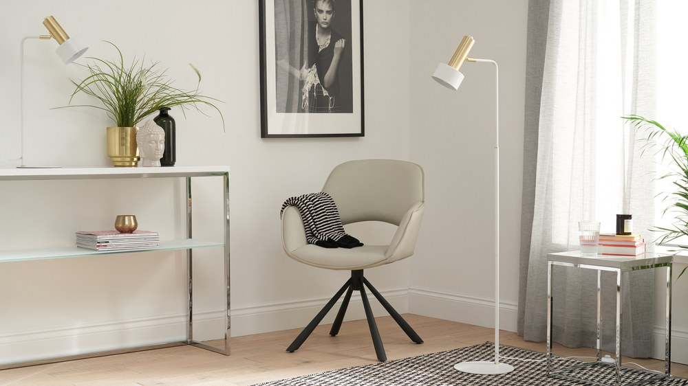 White and brass floor lamp