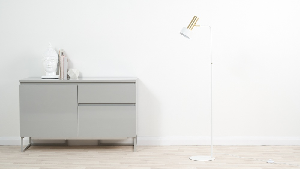 White and brass simplistic floor lamp