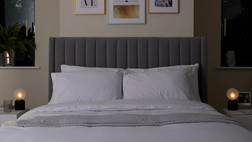 tall panelled headboard grey king size bed