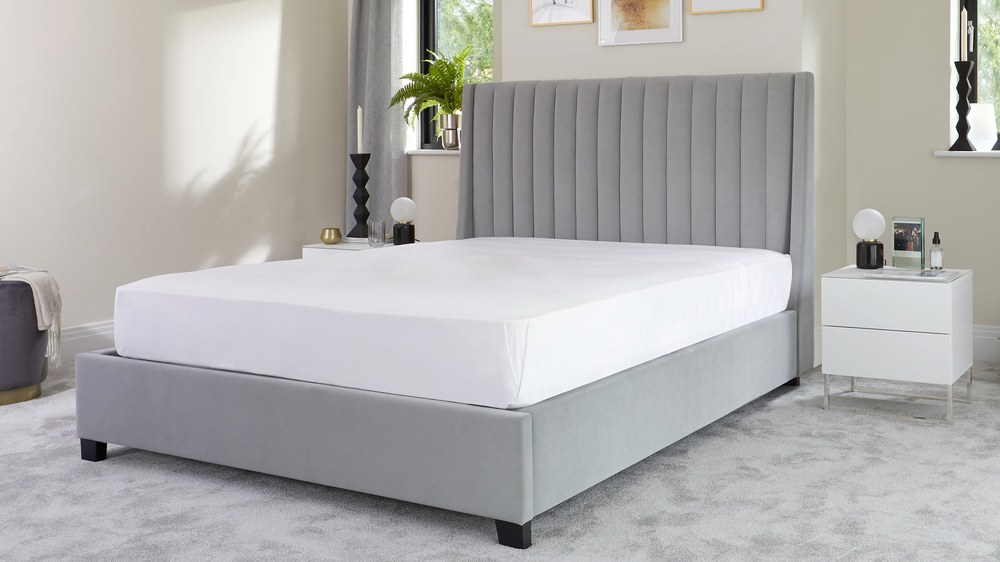 panelled tall headboard grey velvet super king size bed