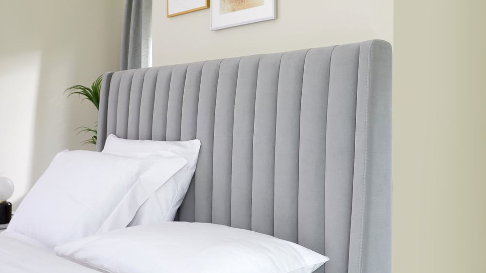 super king size velvet storage bed panelled headboard