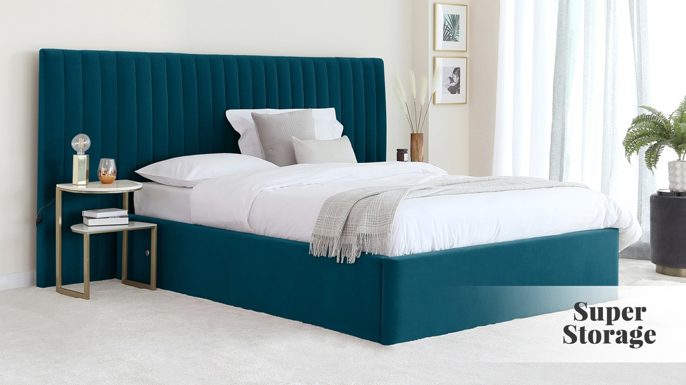 Amalfi Luxe Peacock Velvet King Size Bed with Storage