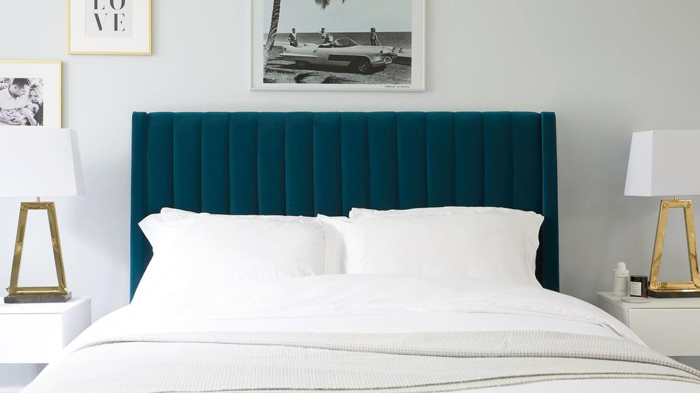 teal velvet storage double bed