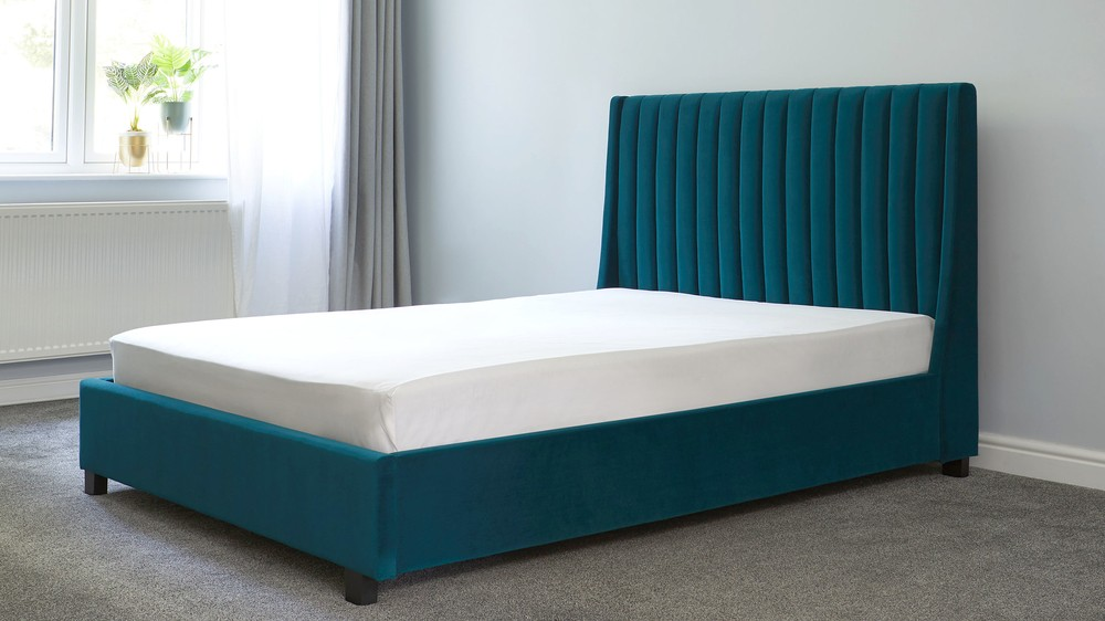 King Size Bed.Amalfi Peacock Velvet King Size Bed With Storage
