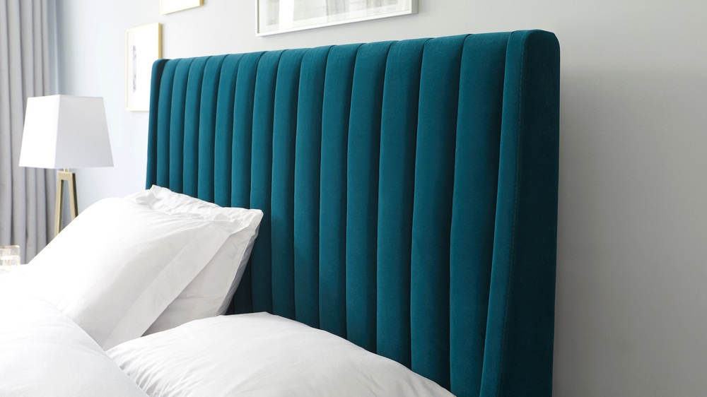 super king teal ottoman bed