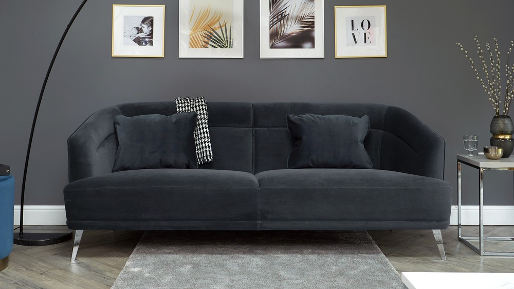 Amber Anthracite Grey 3 Seater Sofa