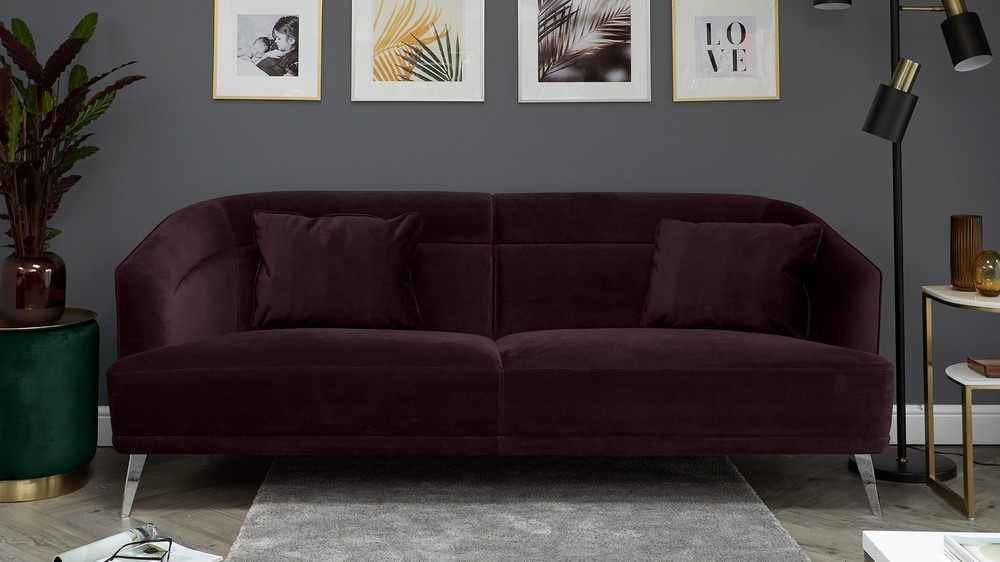 Amber Grape Purple Velvet 3 Seater Sofa