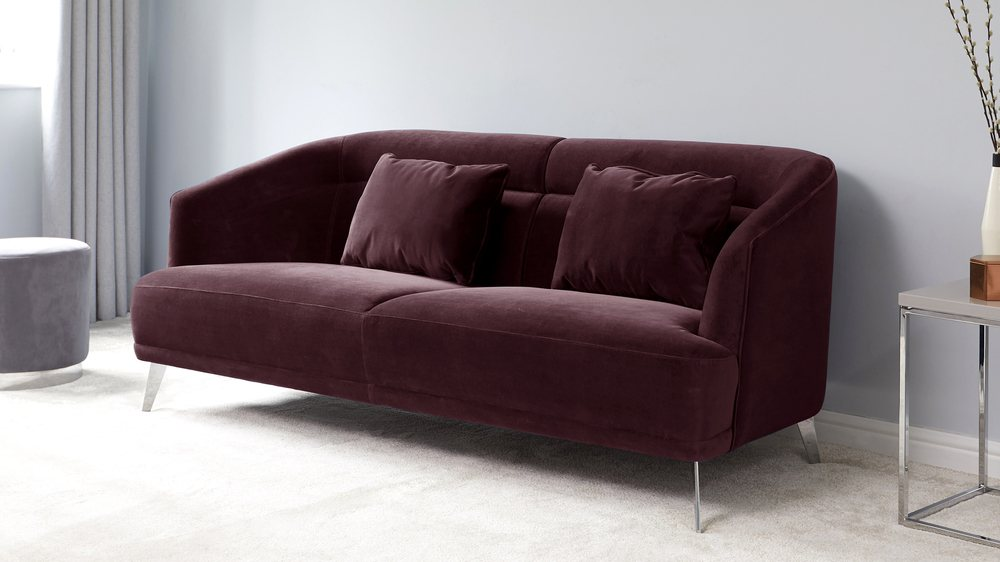 modern purple 3 seater sofa