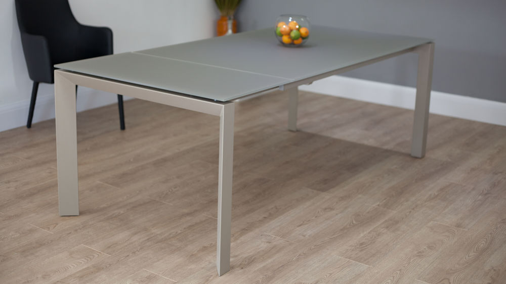 Modern Extending Dining Table Taupe Glass