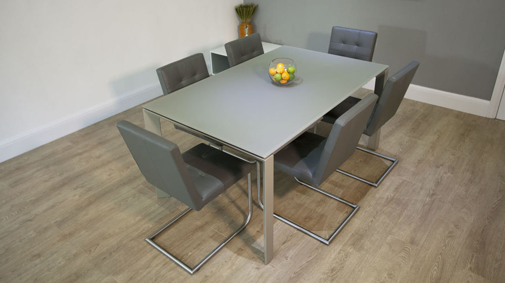 6-8 Seater Glass Dining Table with Real Leather Dining Chairs