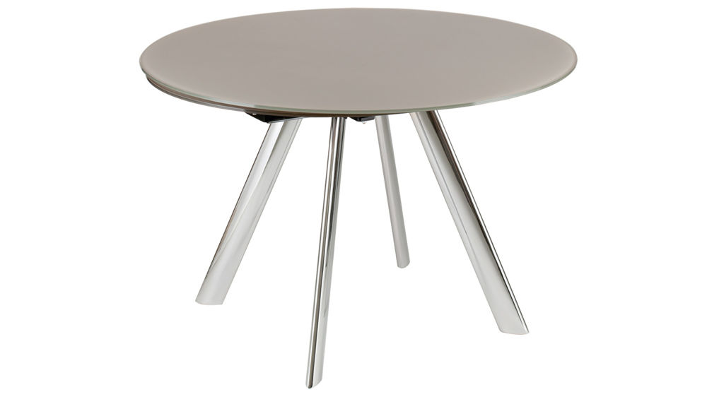 Trendy extending round glass dining table black grey or taupe glass - Trendy dining tables ...
