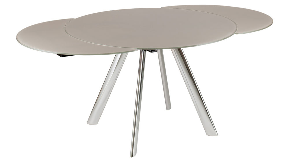 Trendy Extending Round Glass Dining Table Black Grey Or Taupe Glass