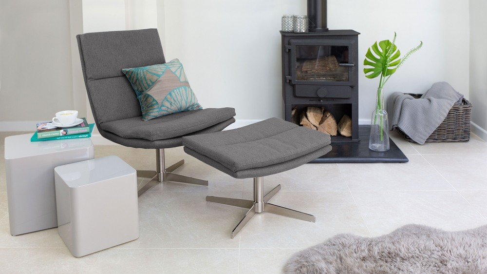 Modern Grey Lounge Chair and Foot Stool